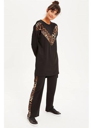 DeFacto Yandan Leopar Şeritli Örme Pantolon Siyah